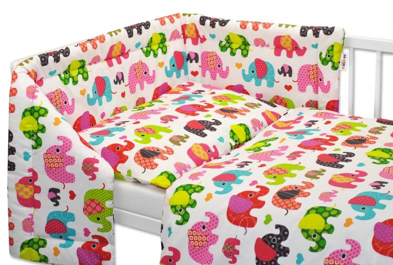 Mantinel s obliečkami Baby Nellys ® Sloníky - biely/slony ružové