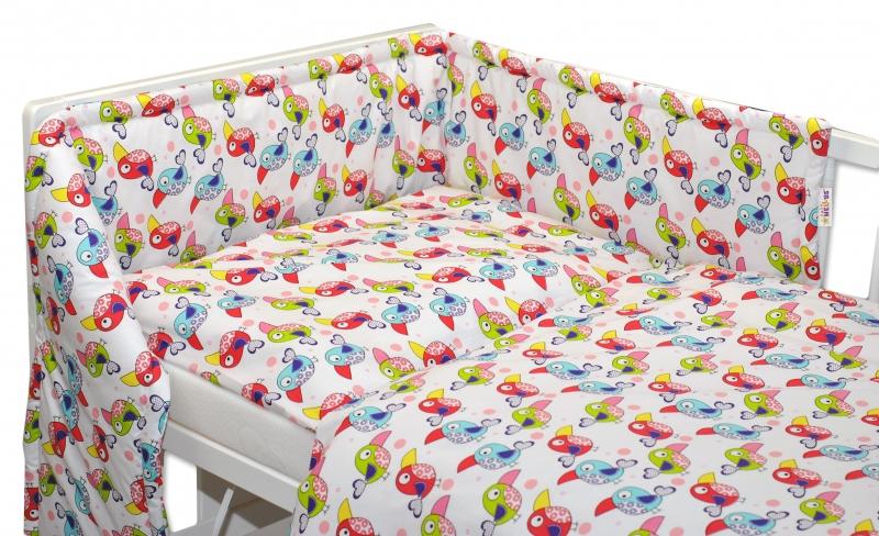 Mantinel s obliečkami Baby Nellys ® - Papagáje 120x90