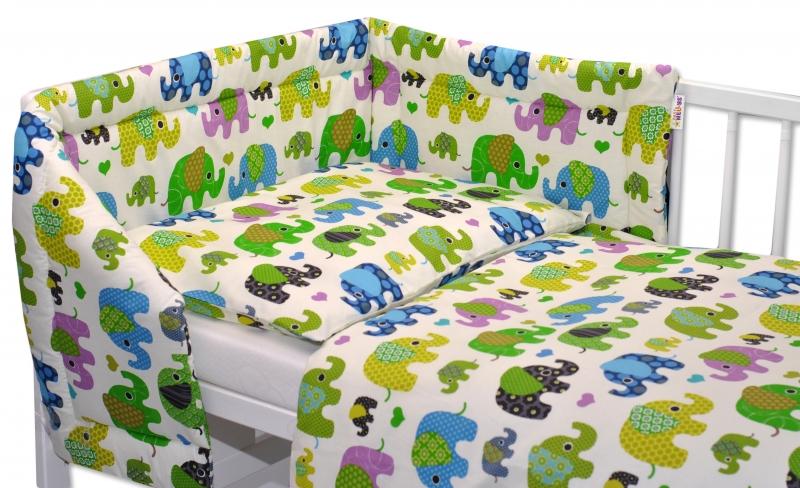 Mantinel s obliečkami Baby Nellys ® Sloníky - smotanový/slony zelené, 120x90