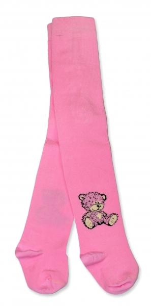 Bavlnené pančucháče Baby Nellys ® - Sweet Teddy - sv. ružové, veľ. 92/98-80/86