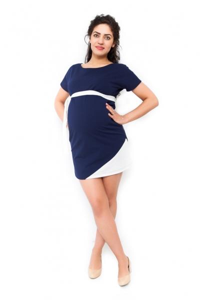 Tehotenské šaty Ines tmavomodré