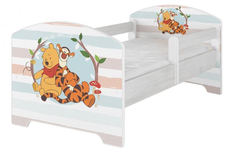 Detská posteľ Disney - Medvedík PÚ prúžok, 160x80 cm