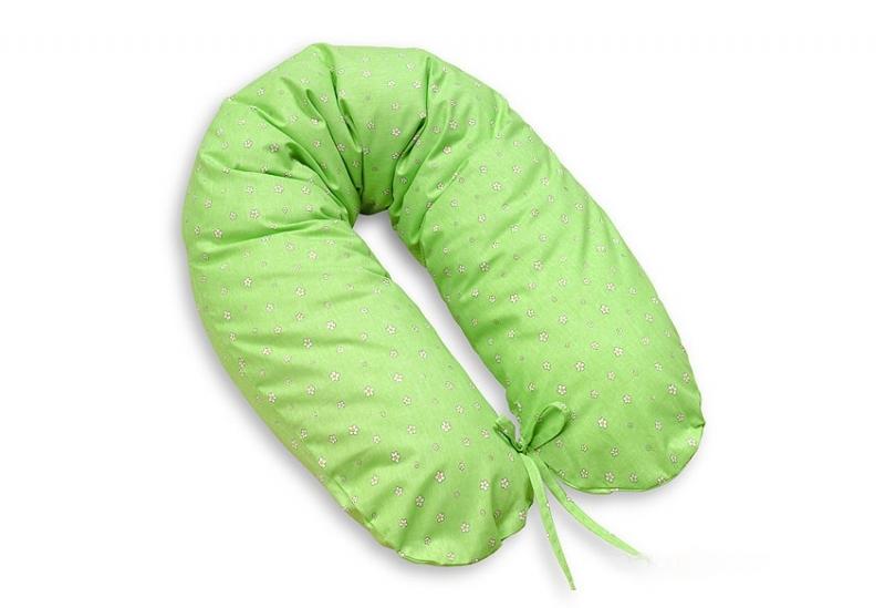 Dojčiací vankúš - relaxačná poduška Multi Kvetinky - zelené
