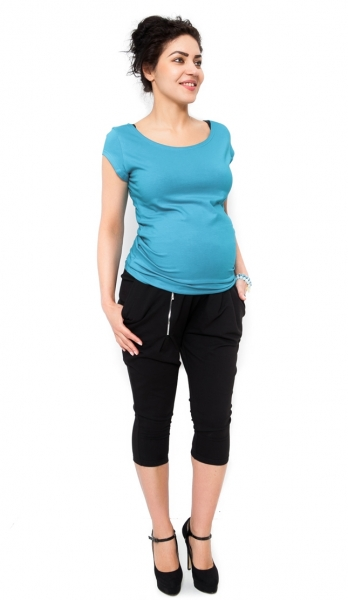 Tehotenské nohavice Tonya 3/4 - čierne, XL