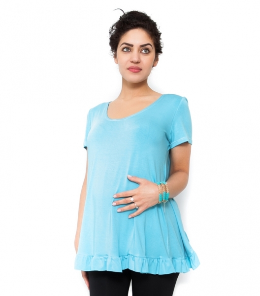 Tehotenské tričko/blúzka Gala - tyrkys, XS
