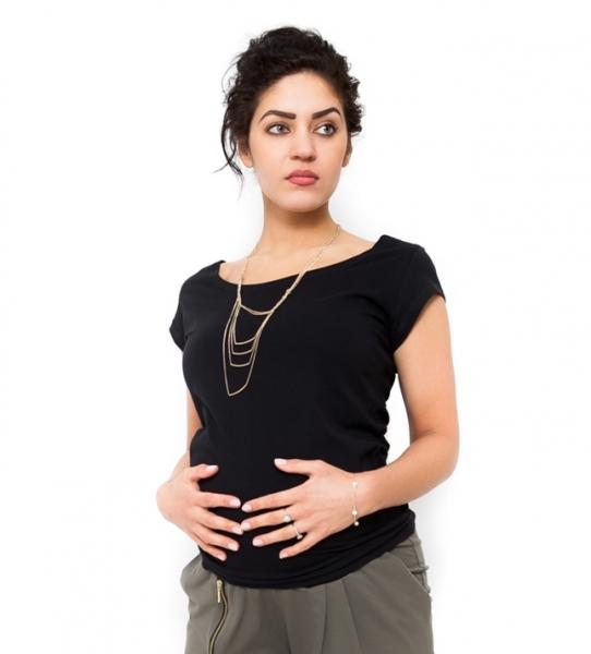 Tehotenské tričko kr. rukáv Celina - čierna