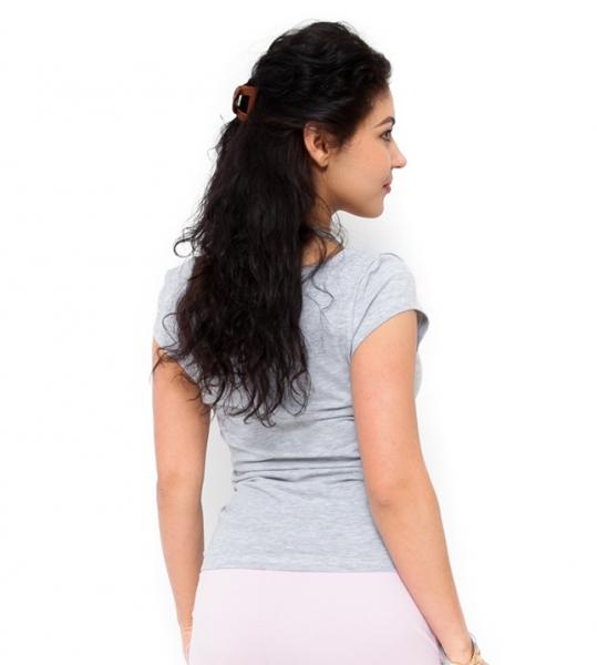 Tehotenské tričko  kr. rukáv Celina - svetlo sivá