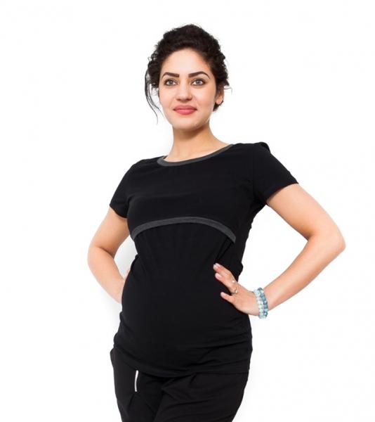 Be MaaMaa Tehotenské a dojčiace tričko - čierne-XS (32-34)