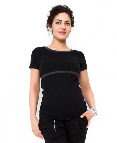 Tehotenské a dojčiace tričko ALDONA - čierne