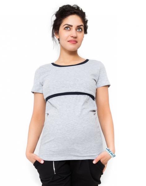 Tehotenské a dojčiace tričko ALDONA - svetlo sivá