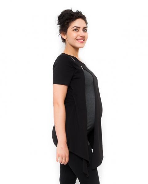 Tehotenské tričko/tunika vhodné aj na dojčenie Aida čierna