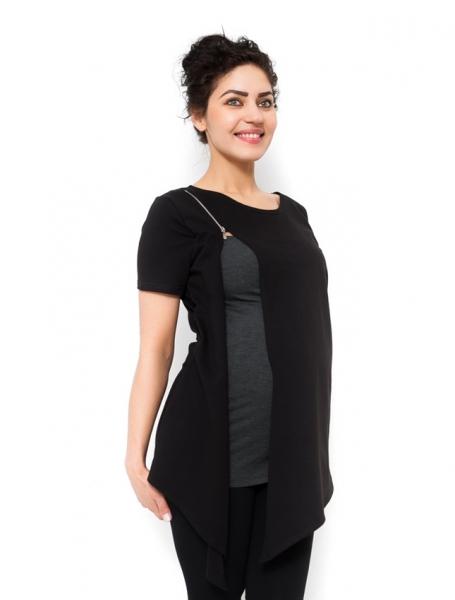 Tehotenská a dojčiaca tunika Aida - čierna-M