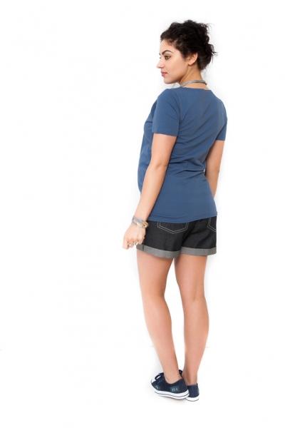 Tehotenské tričko/tunika vhodné aj na dojčenie Aida modrá