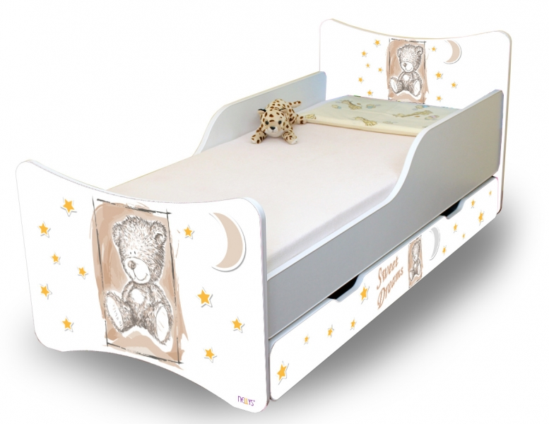 Detská posteľ NELLYS Sweet TEDDY s zásuvkou - béžová, 160x90