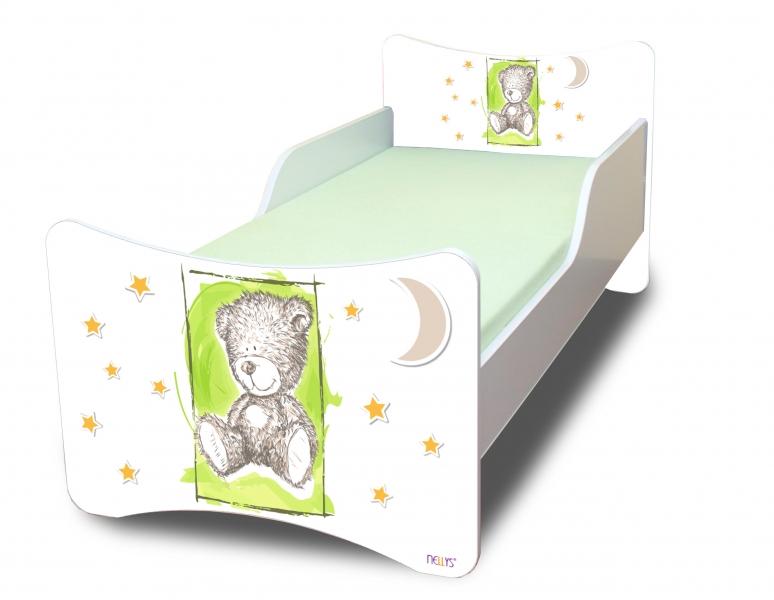 Detská posteľ NELLYS Sweet TEDDY - zelený, 140x70