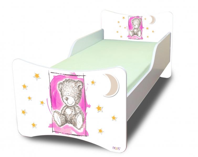 NELLYS Detská posteľ so zábranou Sweet Teddy - růžový, 200x90 cm