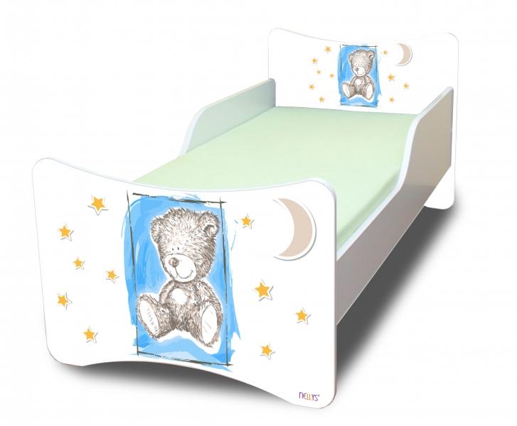 NELLYS Detská posteľ so zábranou Sweet Teddy - modrý, 200x90 cm
