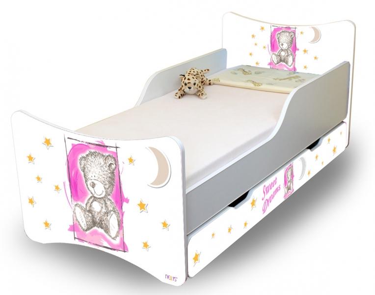 Detská posteľ NELLYS Sweet TEDDY s zásuvkou - růžový, 140x70