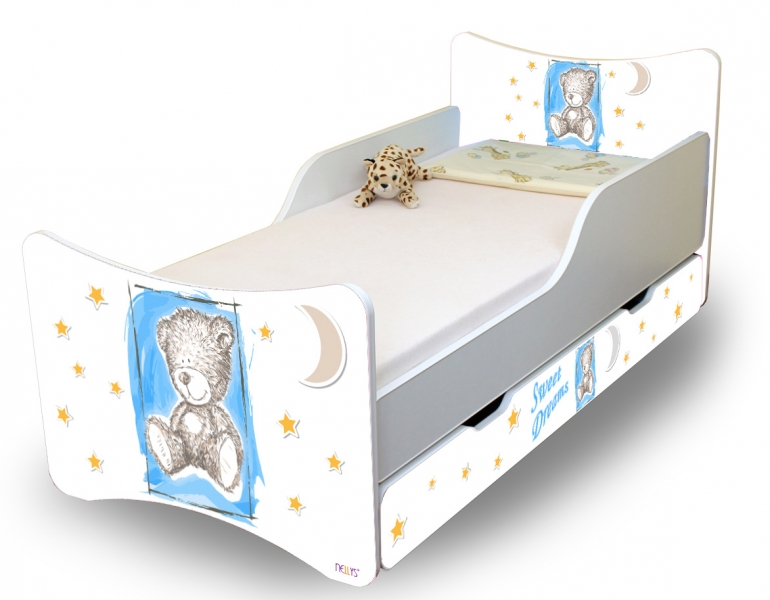 Detská posteľ NELLYS Sweet TEDDY s zásuvkou - modrý, 140x70