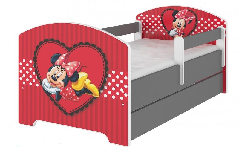 BabyBoo Detská postel Disney s šuplíkom - Minnie Srdiečko, D19