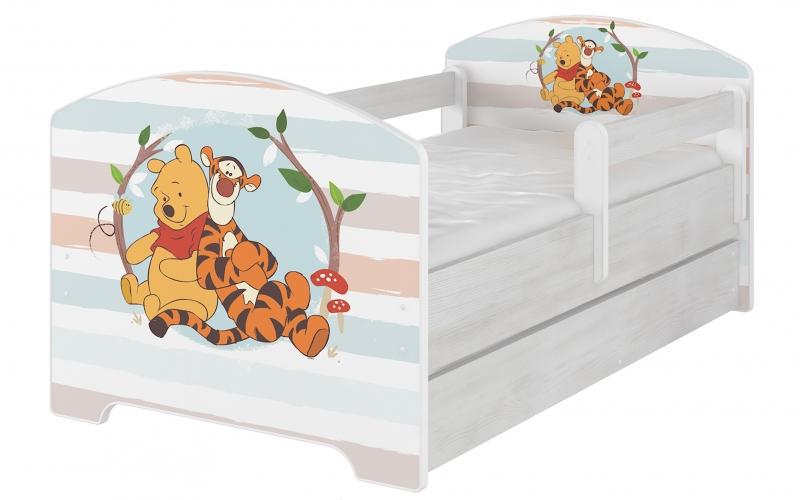 BabyBoo Detská postel Disney s šuplíkom - Medvedík PÚ prúžok, D19