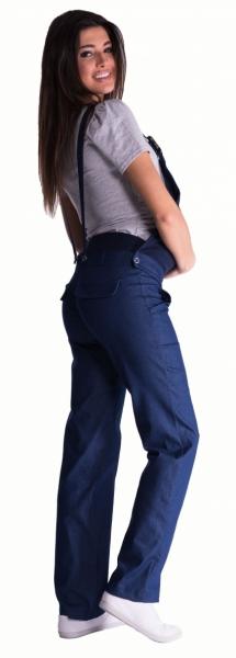 Tehotenské nohavice s trakmi - čierny melírek