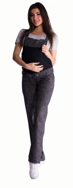 Be MaaMaa Tehotenské nohavice s trakmi - čierny melírek
