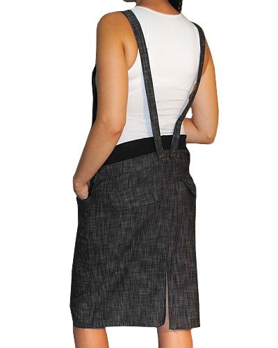 Tehotenské šaty/sukňa na traky - čierny melírek