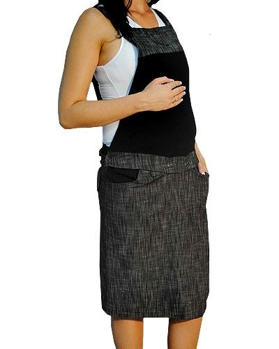 Tehotenské šaty / sukne s trakmi - čierny melírek
