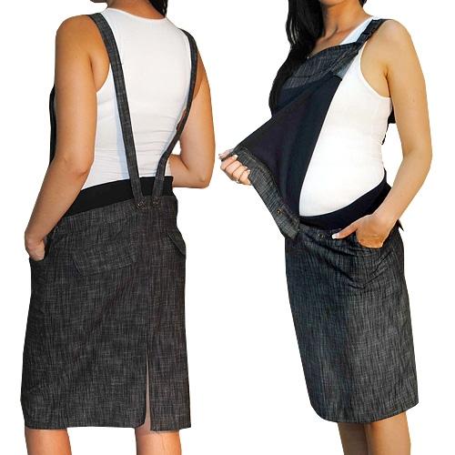 Tehotenské šaty / sukne s trakmi - čierny melírek veľ. S