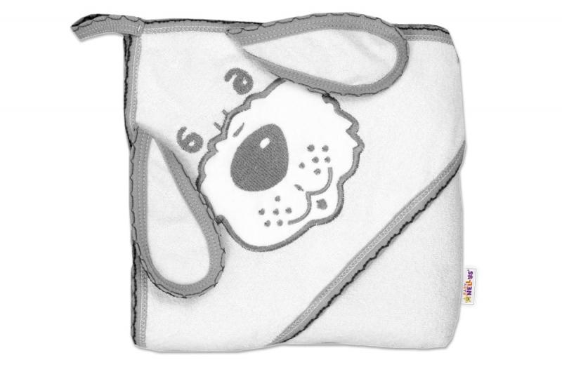 Baby Nellys Detská osuška Psík s kapucňou - bielá