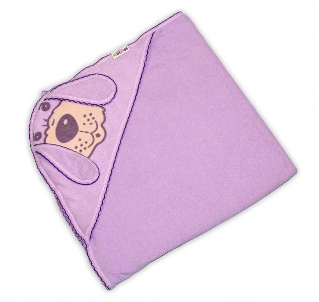 Baby Nellys Detská osuška Psík s kapucňou - fialová