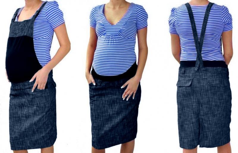 Tehotenské šaty / sukne s trakmi - granátový melírek