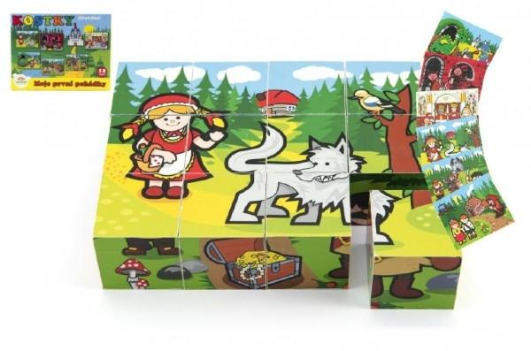 Teddies Kocky kubus drevené Moje prvé rozprávky 12ks v krabičke 17x12,5x4cm