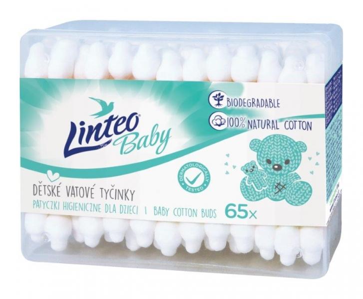 Vatové tyčinky na čistenie uší Linteo Baby