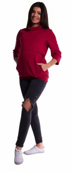 Tehotenské a dojčiace teplákové triko - bordo