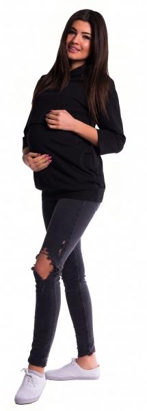 Be MaaMaa Tehotenské a dojčiace teplákové triko - čierné