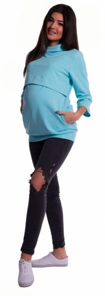 Be MaaMaa Tehotenské a dojčiace teplákové triko - mätové