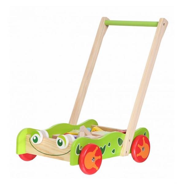 Drevený vozík s drevenými kockami ECO TOYS - Žabka