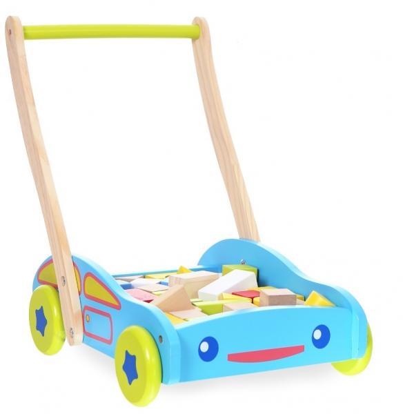 Drevený vozík s drevenými kockami ECO TOYS - Autíčko