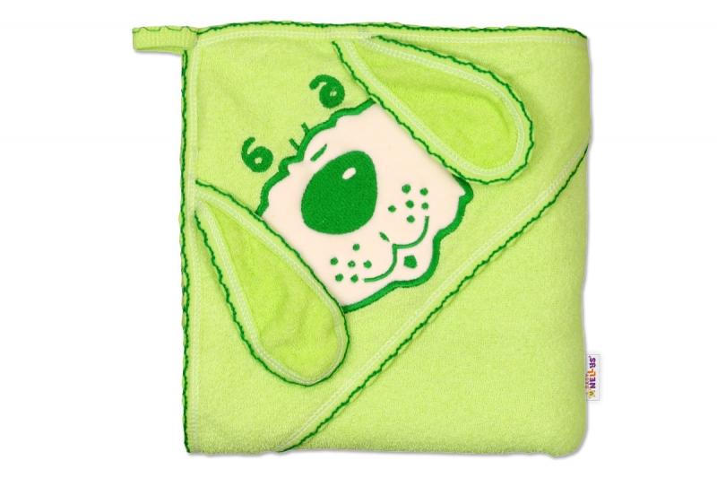 Baby Nellys Detská osuška Psík s kapucňou - zelená