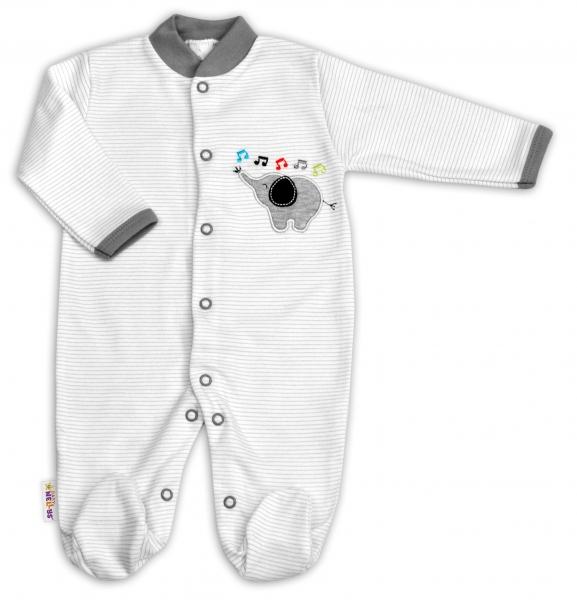 Bavlnený overal Baby Nellys ® - Sloník - prúžky šedé-56 (1-2m)