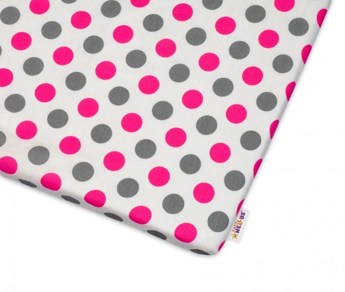 Bavlnené prestieradlo Baby Nellys ® Bodky - růžové-120x60