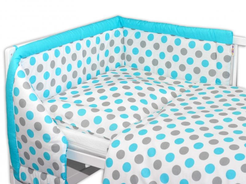 Mantinel s obliečkami Baby Nellys ® Bodky - modré-120x90