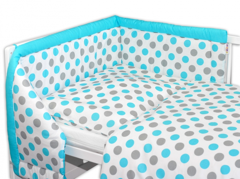 Mantinel s obliečkami Baby Nellys ® Bodky - modré, 135x100