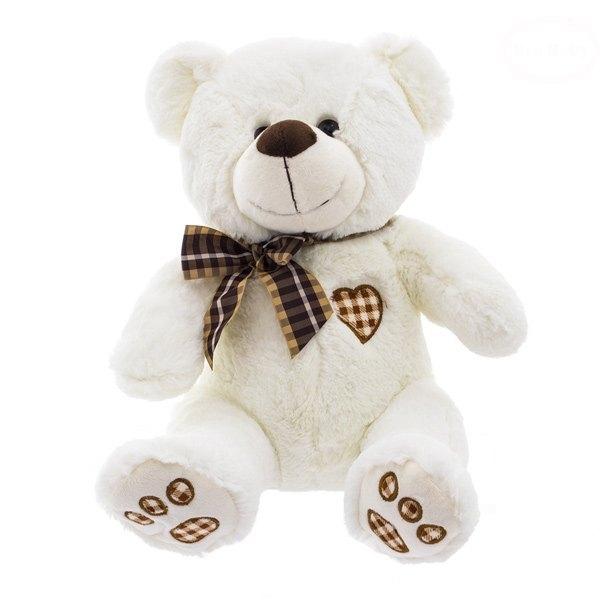 Euro Baby Plyšový medvedík 34cm - bielo/smotanový