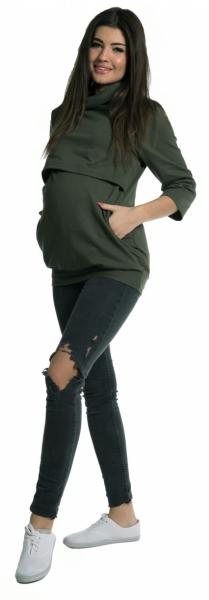 Be MaaMaa Tehotenské a dojčiace teplákové triko - oliva-XL (42)