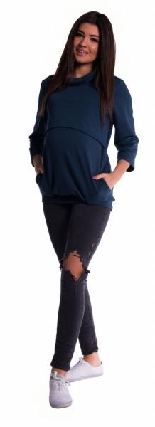 Tehotenské a dojčiace teplákové triko - tmavo modrá