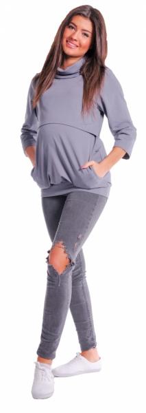 Be MaaMaa Tehotenské a dojčiace teplákové triko - metalická šeď