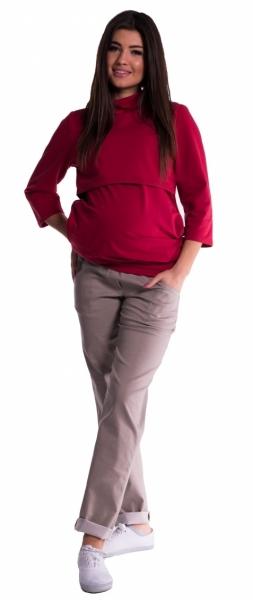 Be MaaMaa Tehotenské nohavice letné bez brušného pásu - béžové-XL (42)